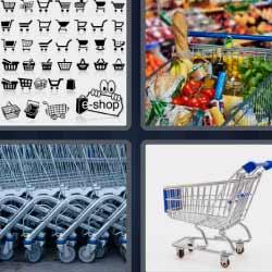 4 fotos 1 palabra carro de compra