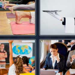 4 fotos 1 palabra mano con bandeja yoga