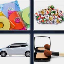 4 fotos 1 palabra discos de colores maquillaje coche
