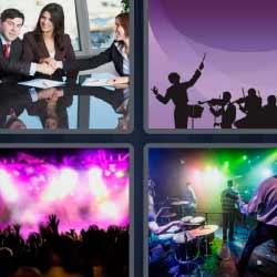 4 fotos 1 palabra reunión músicos