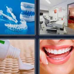 4 fotos 1 palabra dentadura sonrisa pasta de dientes
