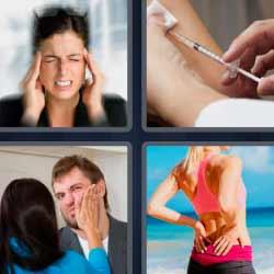 4 fotos 1 palabra dolor de espalda jeringuilla