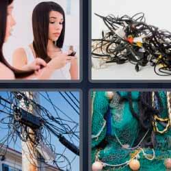 4 fotos 1 palabra cables mujer mirando su pelo