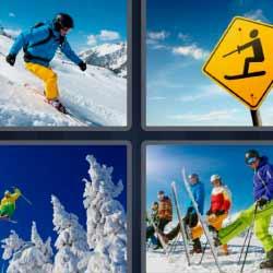4 fotos 1 palabra árboles llenos de nieve esquiador