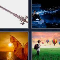 4 fotos 1 palabra globos aerostáticos espada mujer con alas