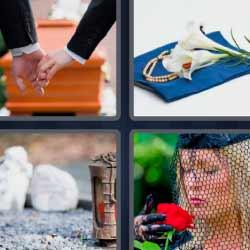 4 fotos 1 palabra flores entierro