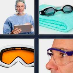 4 fotos 1 palabra lentes doctora toalla