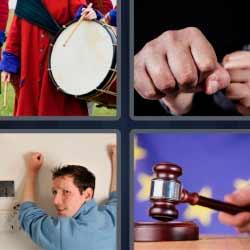 4 fotos 1 palabra tambor puño martillo de juez