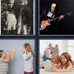 4 fotos 1 palabra monja con guitarra eléctrica