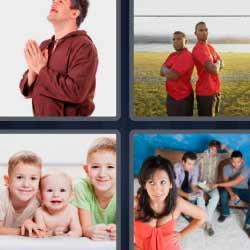 4 fotos 1 palabra hombre rezando niños