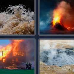 4 fotos 1 palabra volcán incendio