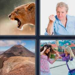 4 fotos 1 palabra leona volcán puño