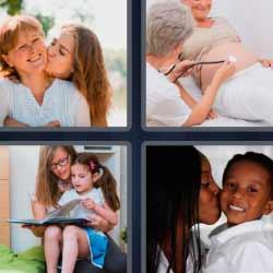 4 fotos 1 palabra madre e hijo