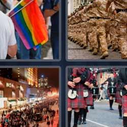 4 fotos 1 palabra soldados bandera de colores