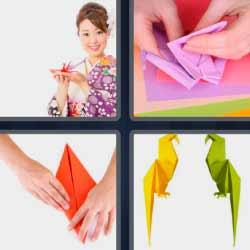 4 fotos 1 palabra figuras de papel