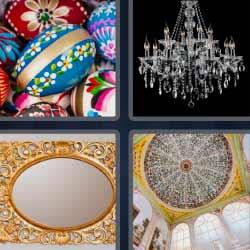 4 fotos 1 palabra huevos de pascua cúpula lámpara espejo