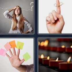 4 fotos 1 palabra velas notas dedo