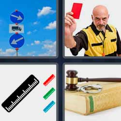 4 fotos 1 palabra tarjeta roja martillo juez