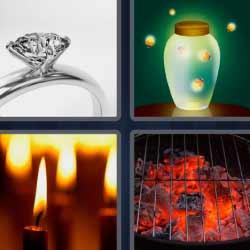 4 fotos 1 palabra anillo velas brasas