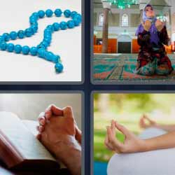 4 fotos 1 palabra rosario manos meditando
