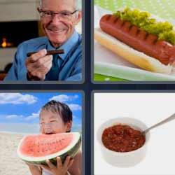 4 fotos 1 palabra sandía hot dog salsa