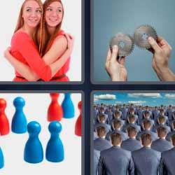 4 fotos 1 palabra fichas azules y rojas mujeres abrazándose