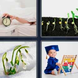 4 fotos 1 palabra semillas despertador ábaco