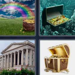 4 fotos 1 palabra cofre monedas arco iris