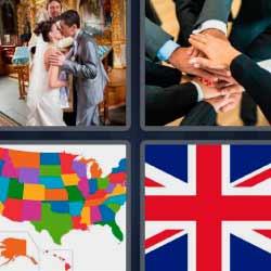 4 fotos 1 palabra bandera mapa manos