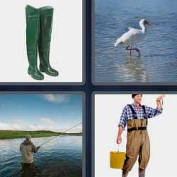 4 fotos 1 palabra botas pesca garza