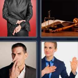 4 fotos 1 palabra nariz larga dedos cruzados