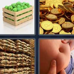 4 fotos 1 palabra monedas manzanas sacos