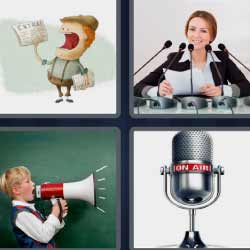 4fotos 1palabra micrófono altavoz