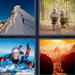 4fotos1palabra paracaidista cima de montaña