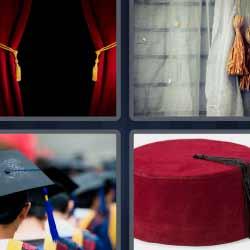 4 fotos 1 palabra cortina sombrero rojo