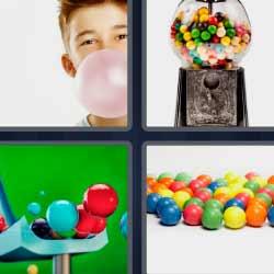 4 fotos 1 palabra bolas de colores