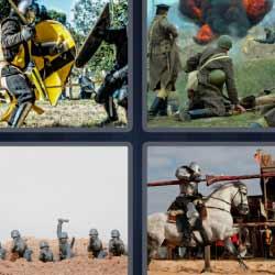 4 fotos 1 palabra caballero medieval soldados