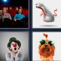 4 fotos 1 palabra ratón payaso perro
