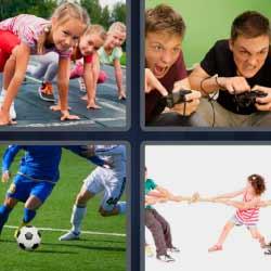4fotos1palabra jugando fútbol consola