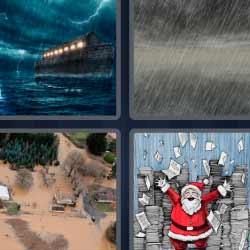 4 fotos 1 palabra lluvia papá Noel