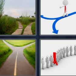 4 fotos una palabra carretera flecha