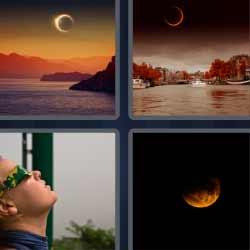 cuatro fotos una palabra luna noche