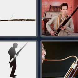 Cuatro fotos una palabra músico instrumento viento