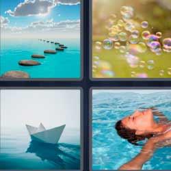 cuatro fotos una palabra barco de papel