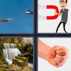 4 fotos 1 palabra puño avión imán cascada