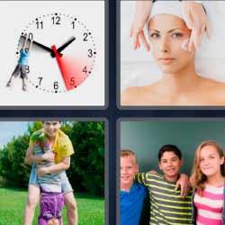 cuatro fotos una palabra reloj amigos