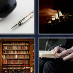 4fotos1palabra máquina de escribir biblioteca