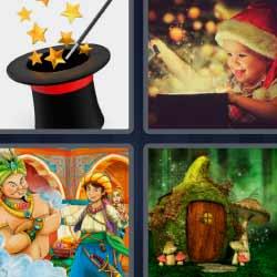 4 fotos 1 palabra sombrero varita mágica