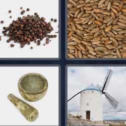4 fotos 1 palabra molino mortero granos