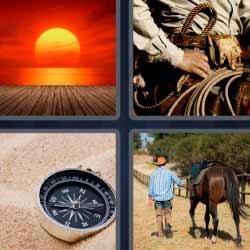 Cuatro fotos una palabra brújula caballo